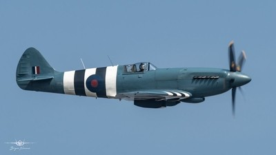The stunning BBMF Supermarine Spitfire PM631 during a display practice over RAF Coningsby 17-4-19