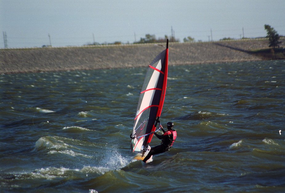 Windsurfer shot on a 40 knot wind.