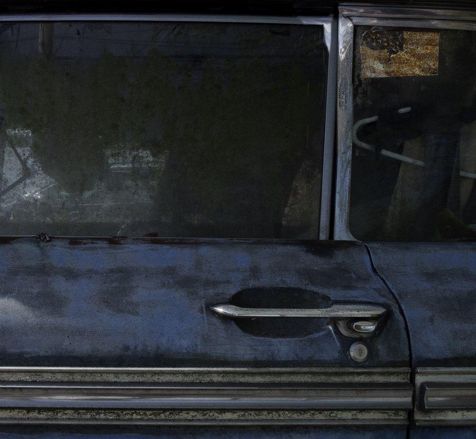 Flag sticker on a car window
