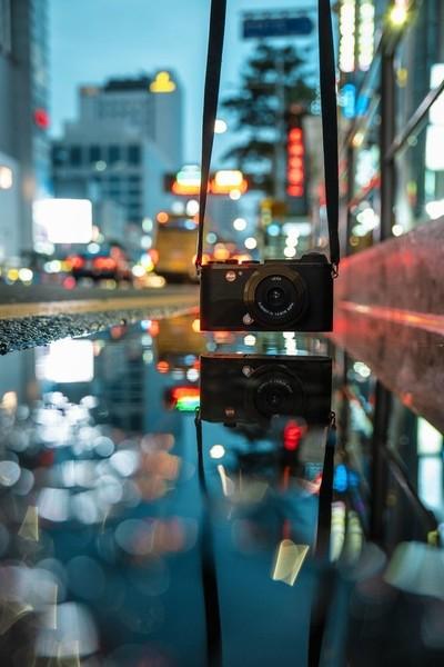 city lights through the camera.
