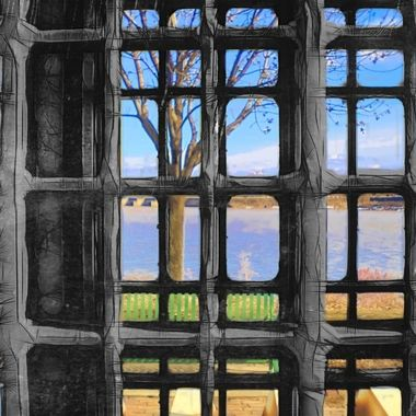 """Photo taken though a grate, edited to give grate a drawn look and background was a """"vibrant"""" filter"""