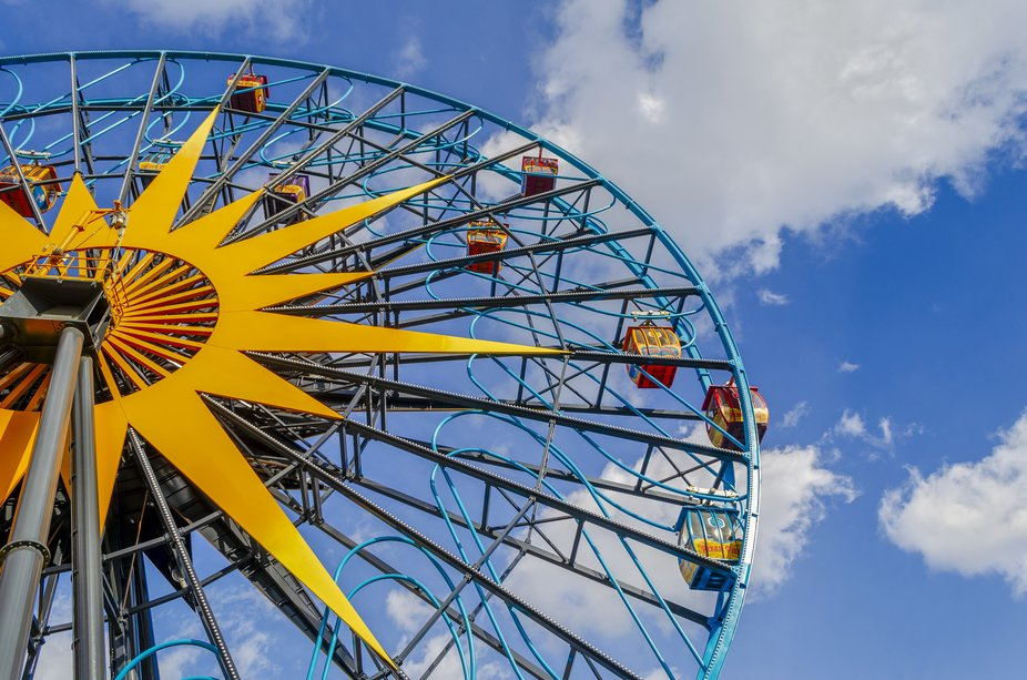 Farris wheel at California Adventure, another Disney theme park located next to Disneyland, Calif...