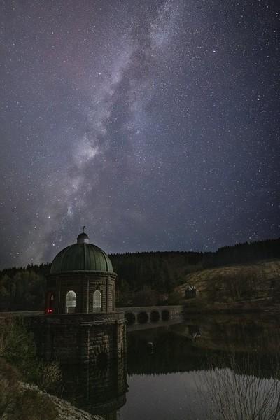 The Milky Way above Garreg Ddu submerged dam