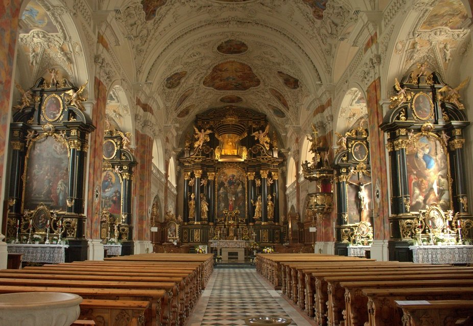 The impressive interior of the Wilten Abbey Church, in Innsbruck, Austria.