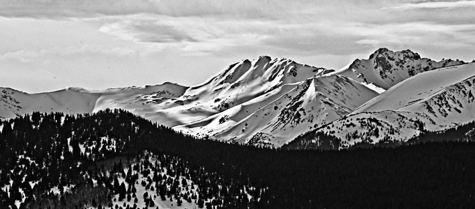 Afternoon sun on the Continental Divide - B&W