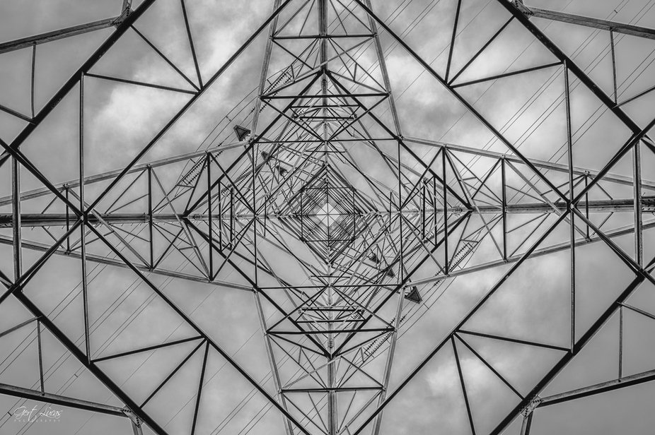 Looking up through an electricity-pylon