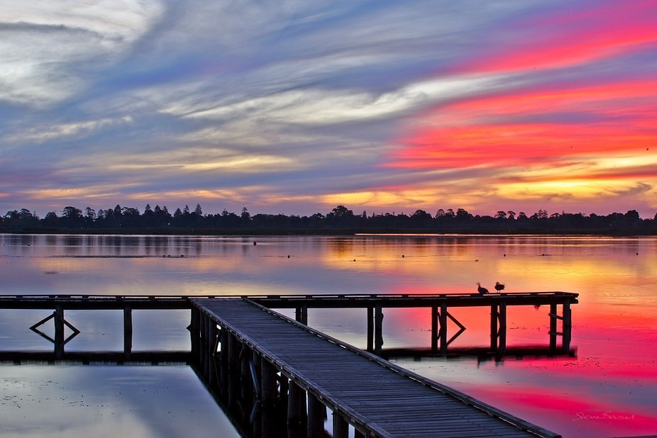 "#2 of ""The Hand Of God"": four amazing sunsets on one night at Lake Wendouree, Ballarat, Australia The most amazing textures appeared early in the sunset, with colours radiating throughout"