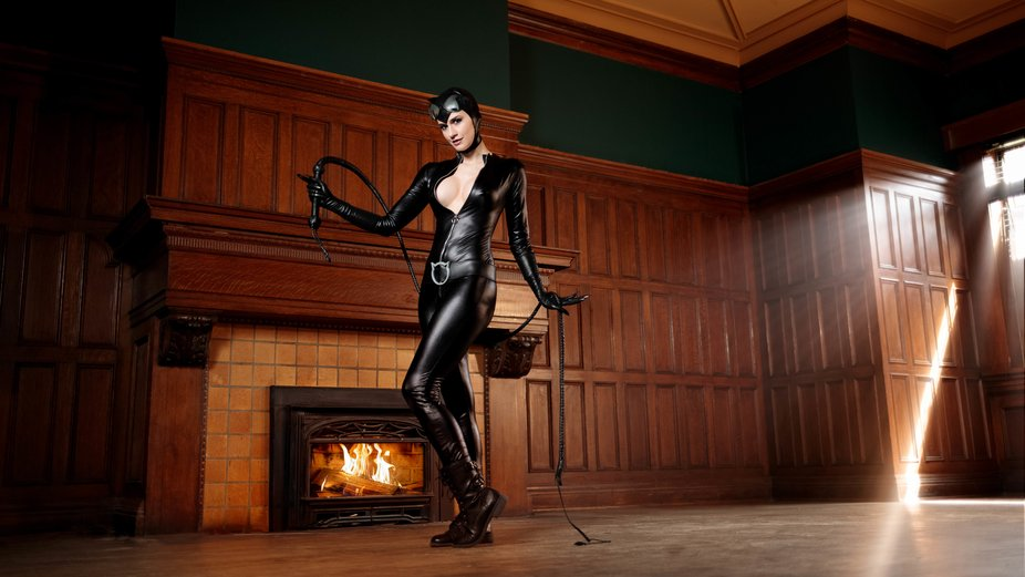 Catwoman at the Mansion by the Fireplace