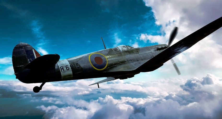 This aircraft is hanging from the ceiling at the Imperial War Museum in London England, a veteran...
