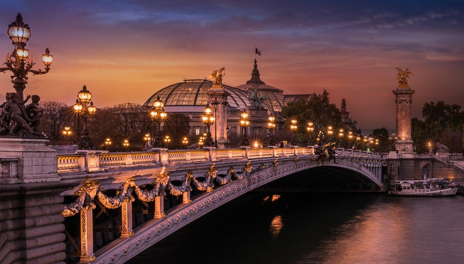 I photographed the beautiful Pont Alexandre III that connects the Grand and Petit Palais with the...