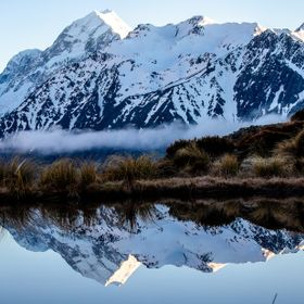A refection of Mount Cook/ Aoraki in an alpine tarn
