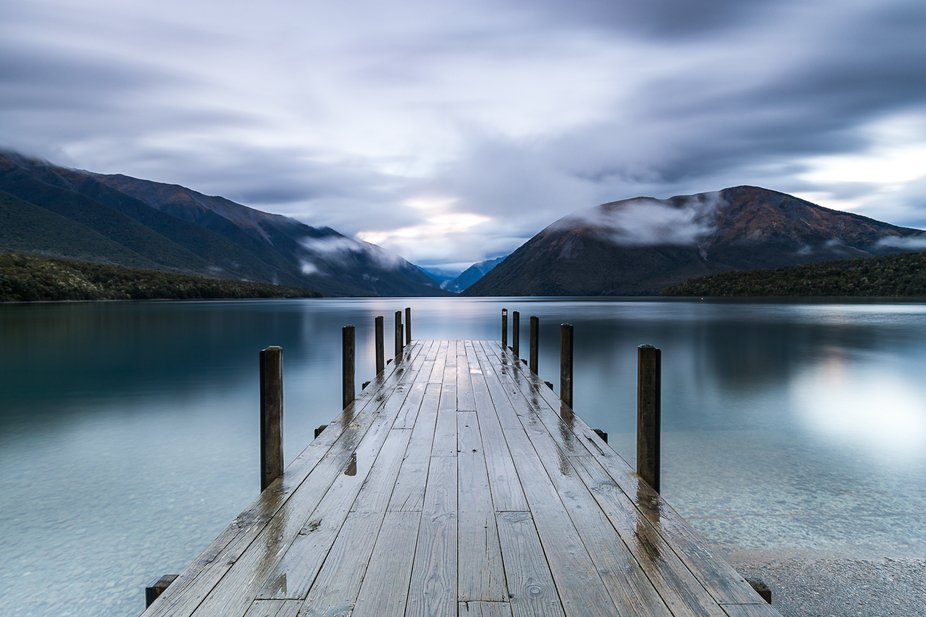 One of the jetties at Kerr Bay, Lake Rotoiti, New Zealand in the early morning light.