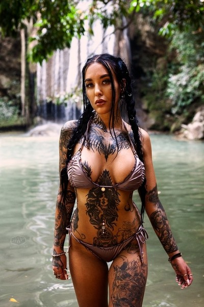 Bikini fashion by the waterfall