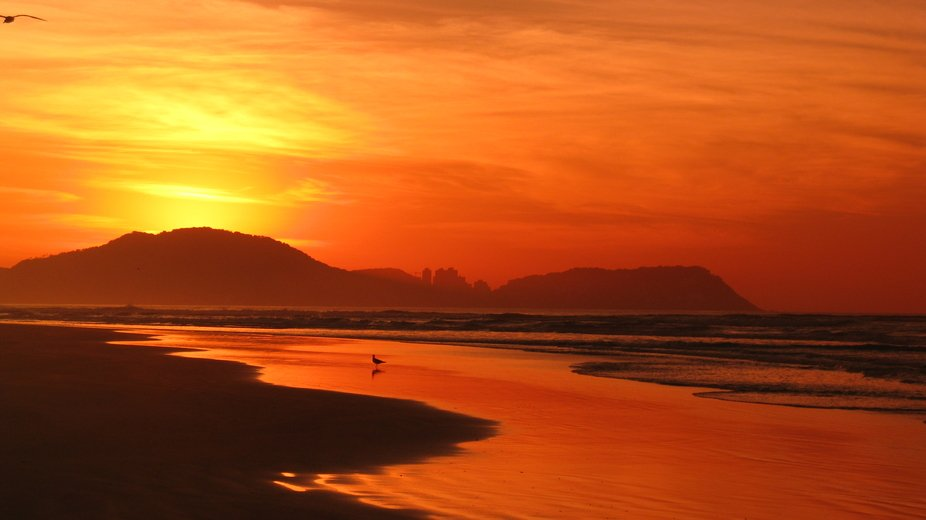 Sunrise in Guaruja Beach in Sao Paulo Love the Reflection on the beach