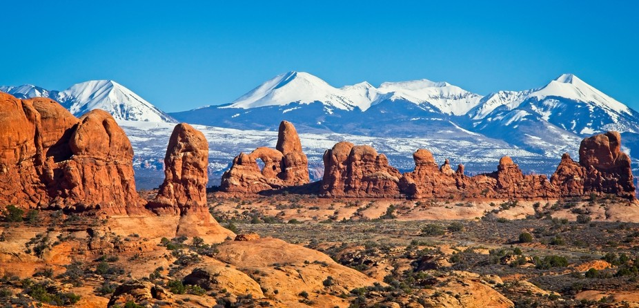 La Sal Mountains behind Red Rock Formations in Arches National Park