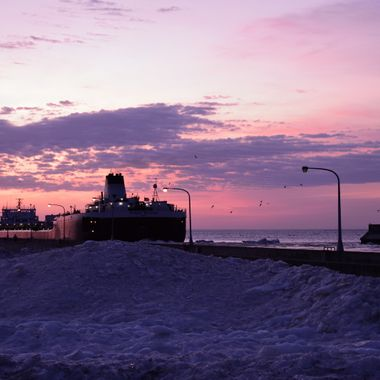 Taken at Canal Park early morning. The wind had piled up ice against the north side of canal pier.