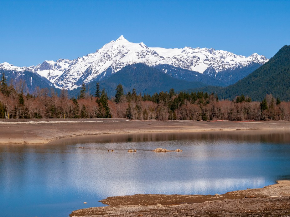 Mt Shuksan seen from the north end of Baker Lake.