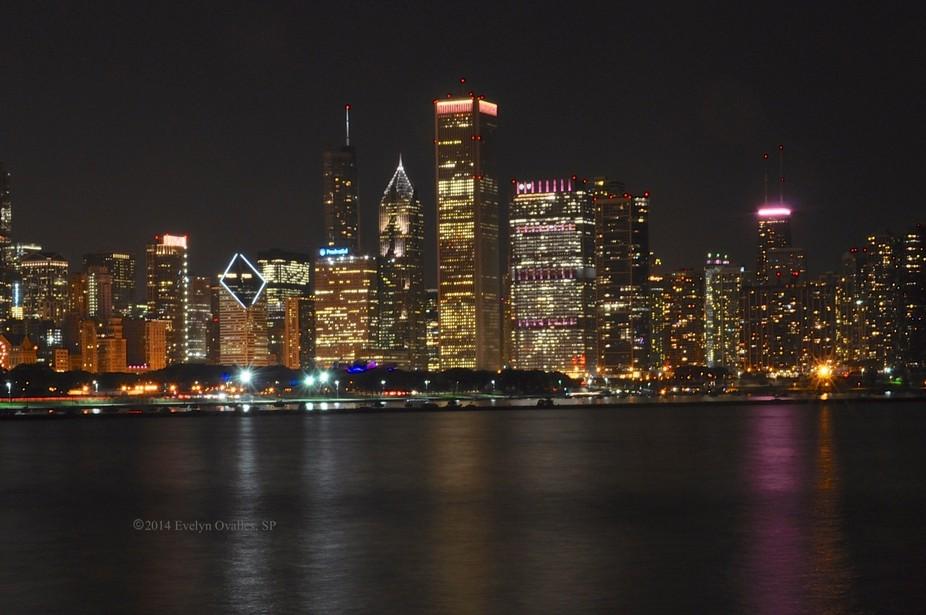Chicago skyline and Lake Michigan at night