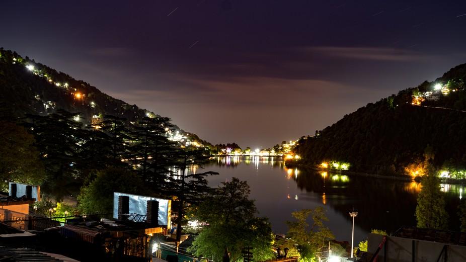 A long exposure over the lake at Nainital in India.