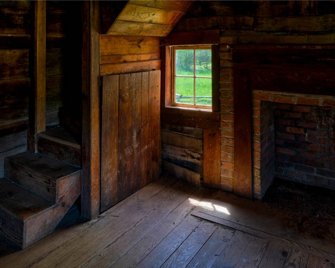 The inside of the cabin.