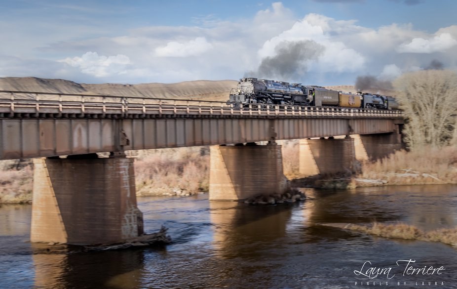Union Pacific's Big Boy 4014 on her first voyage after being reborn.  This is at Histori...