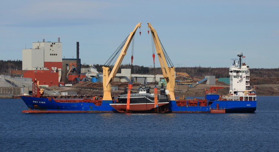 The fishing vessel Atlantic Titan is hovering over the waters of the Strait of Canso after a slow...