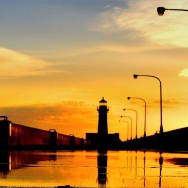 Sunrise over Canal Park Pier, Duluth, Mn.
