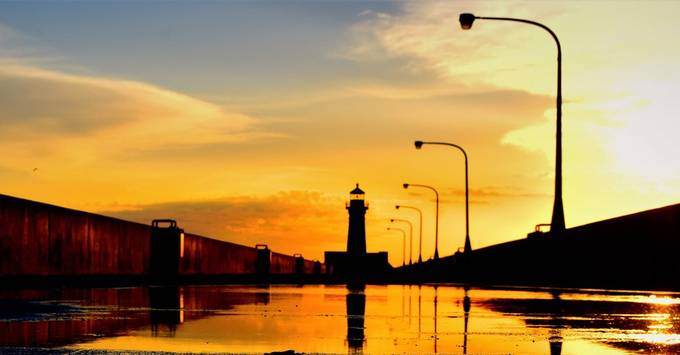 Sunrise over Canal Park Pier, Duluth, Mn.