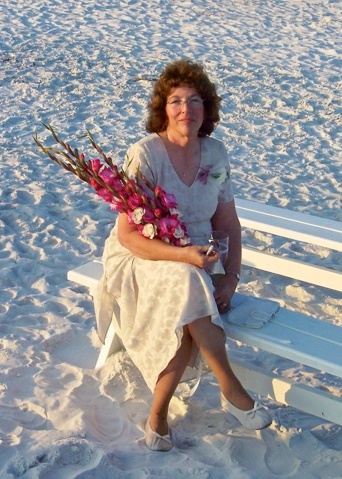 This is my favorite photo of my mom.  This is at my sisters beach wedding.