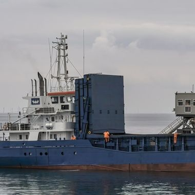 The Vessel is loaded from the aft by the gantry on the right.
