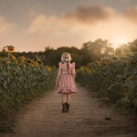 Walking through a field of sunflowers