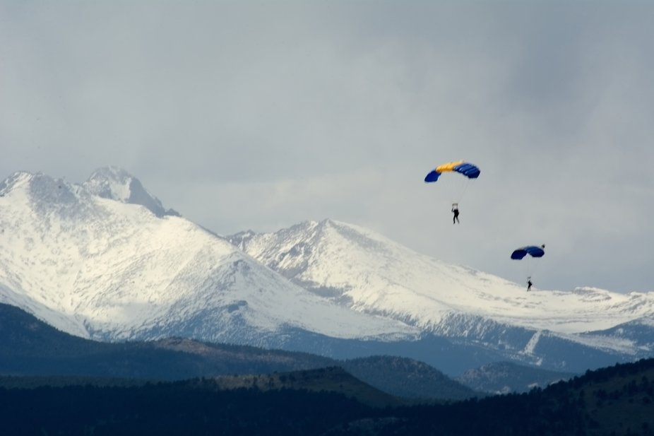 Mt Evans and skydivers in Longmont, CO. 2019