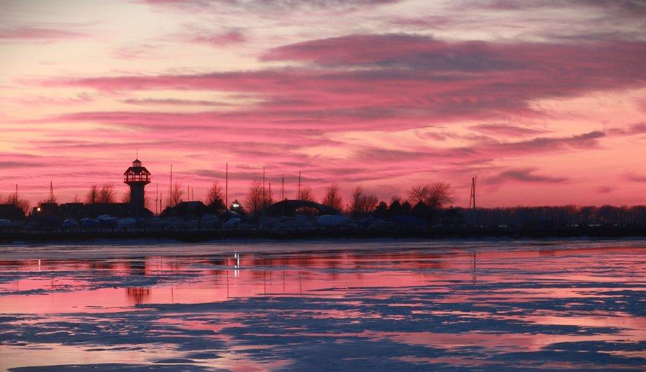 lake Erie pier at sunset