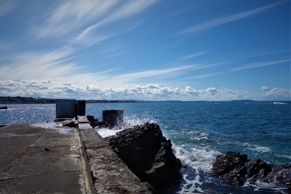 the breakwater at Portessie looking over to Buckie on the Moray Firth