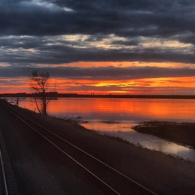 Sunset from train traveling through Montana