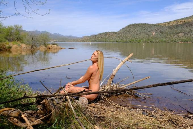 photo shoot with Sara Gramm at Bartlett Lake, Arizona.