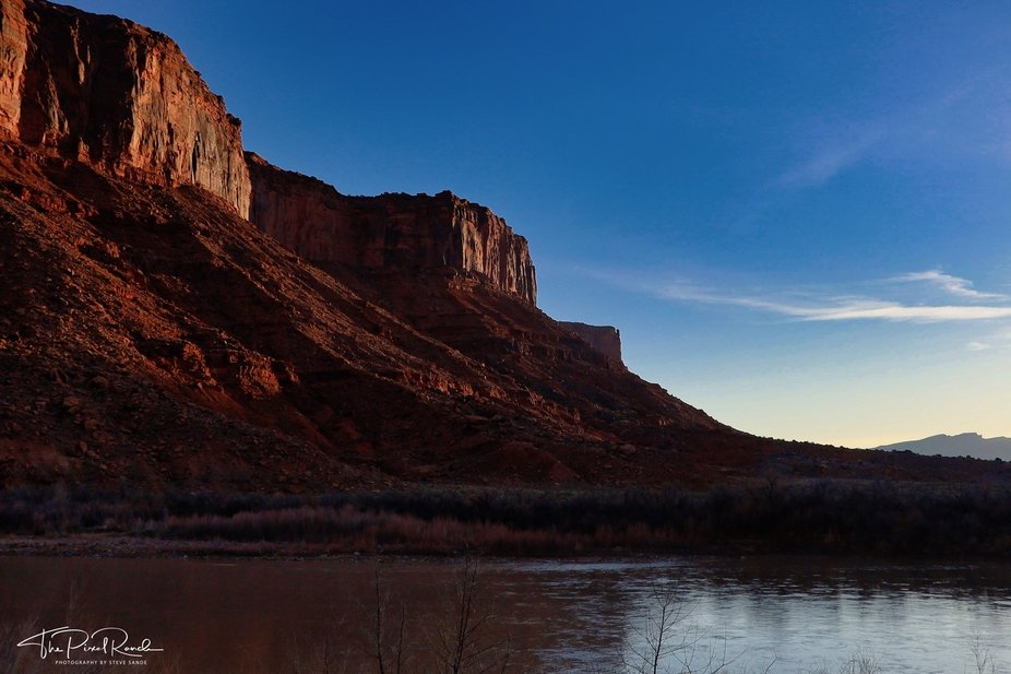 Just after sunrise on the Colorado River near Moab, Utah