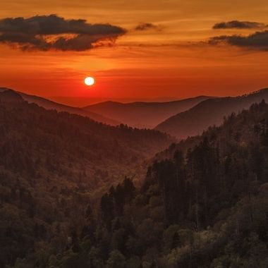 Taken from Morton Overlook, Great Smoky Mountains National Park, looking across eastern Tennessee.