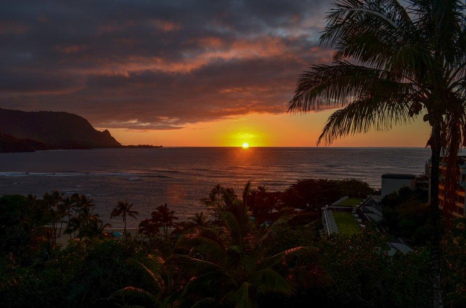 Sunset on the north shore of Kauai, Hawaii, overlooking Hanalei Bay.