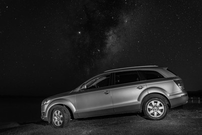 Car portrait under the Milky Way