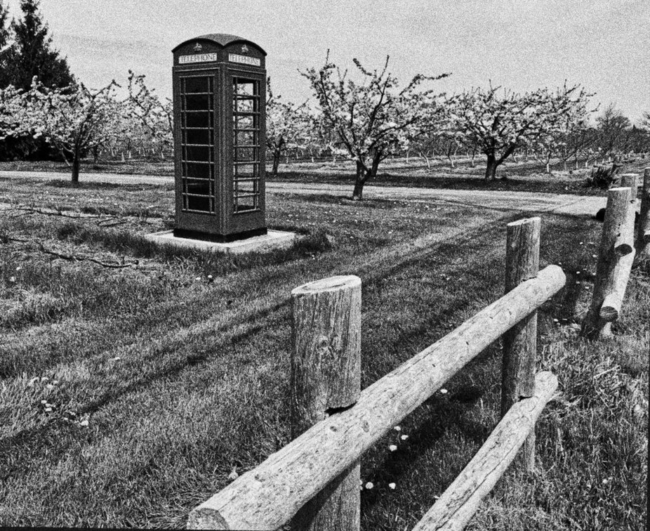 Not often that you see a British-style phone booth in an agricultural area.