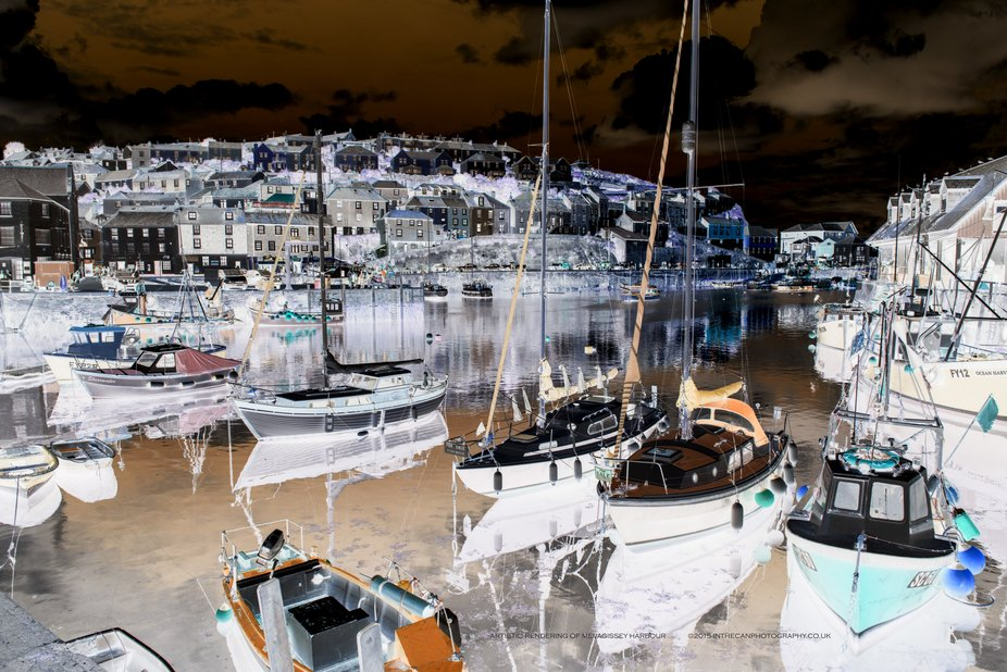 An artistic rendering of Mevagissey Harbour that's so liked by many.