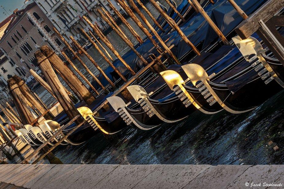 Gondolas at sunrise