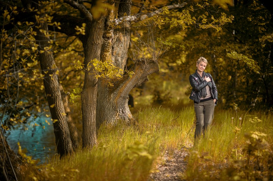 Shooting with beautiful Franka on River Mulde near Colditz, Saxony Germany
