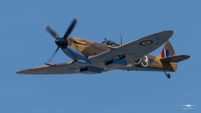 15-5-18- BBMF Spitfire MK356 on PDA day over RAF Coningsby