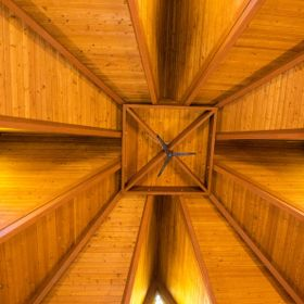 At the Mother Cabrini Shrine, Golden CO, inside the chapel, looking straight up to the highest point in the chapel.