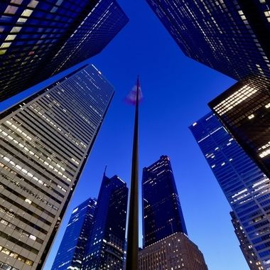 Out for a walk in the pre-dawn hour in the financial district - Toronto, Canada.