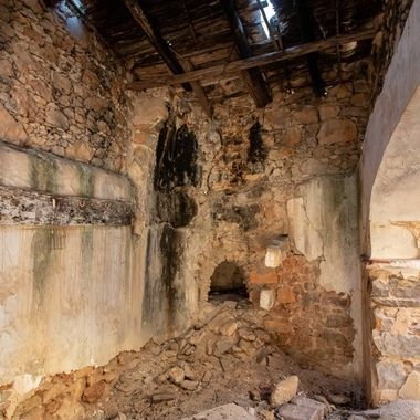 remnants of an oven in a kitchen in a ruin, Portugal