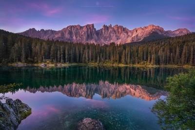 Sunrise at Lago di Carezza