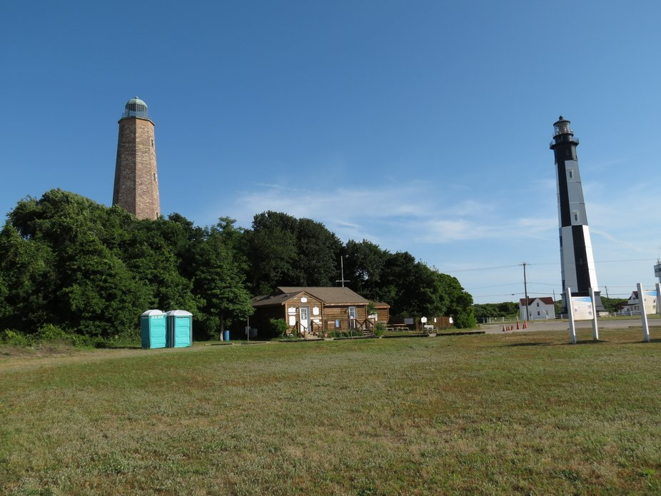 The original lighthouse on the left was built in 1792 for about $17,700. The light lighthouse on ...